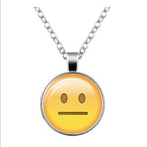 Jewelry - Unsure 😐 Emoji Glass & Silver Necklace
